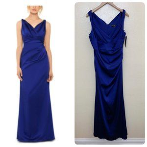 Betsy & Adam Ruched Satin Gown A22922  Royal Blue